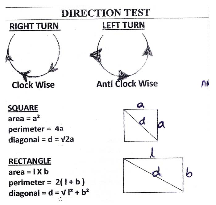DIRECTION TEST SHORT CUT METHODS IN REASONING ABILITY