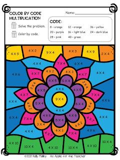 Diwali Color by Number Multiplication flower colored