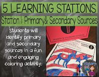 Image of station activity in Primary and Seconday Sources Lesson by History Gal