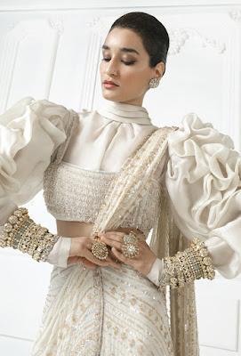 Manish Malhotra saree collection Ivory Chiffon Stitch Saree front side
