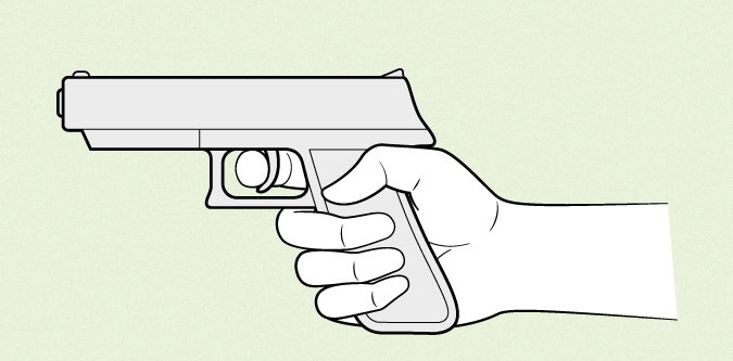Pistol memegang tangan anime