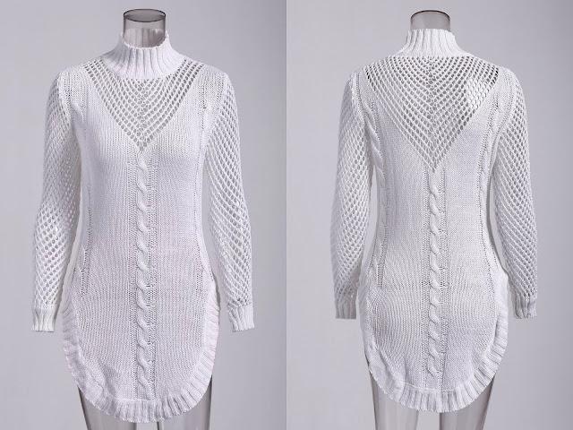 Long Sleeve Hollow Out Short Jumper Dress