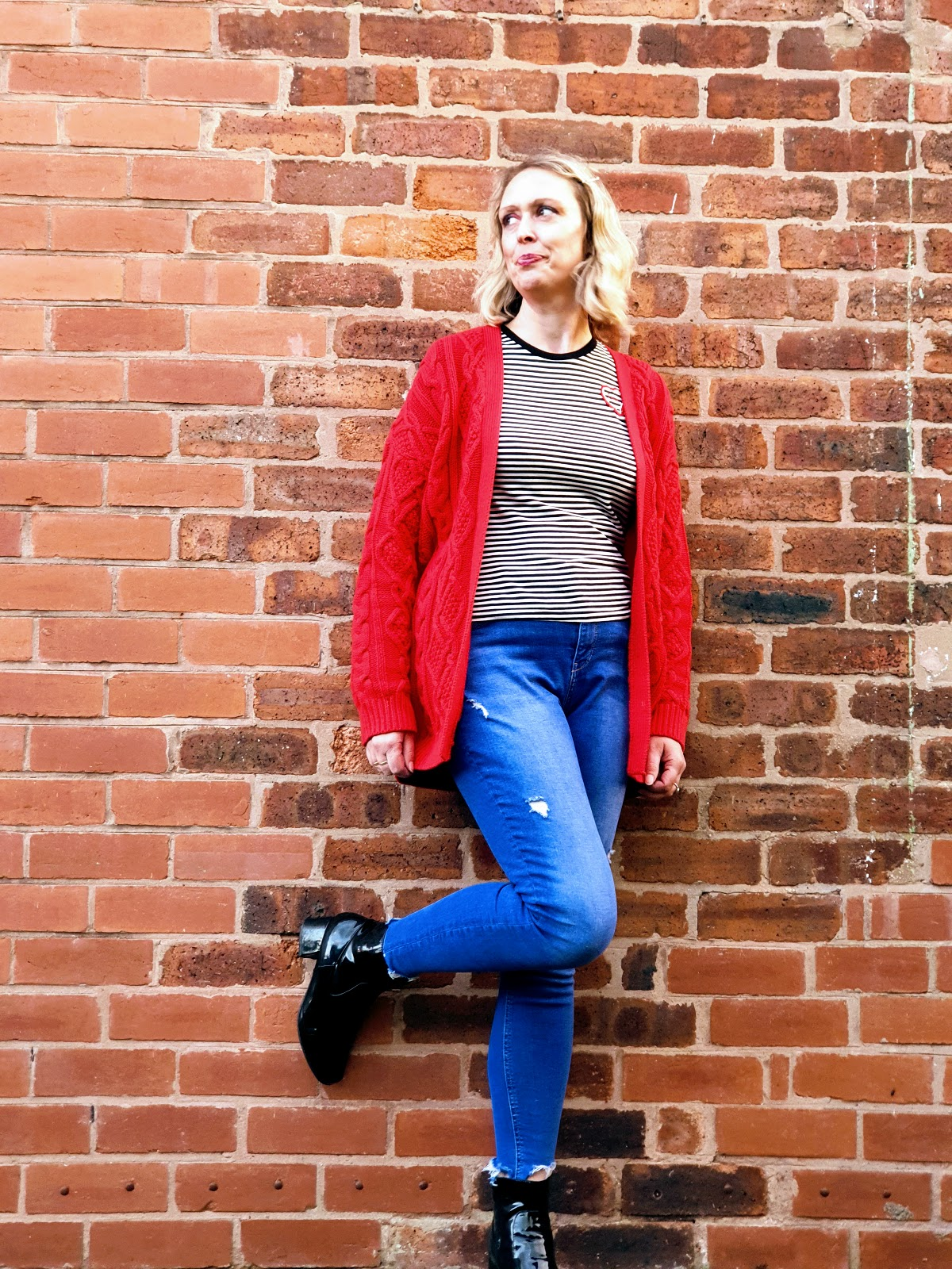 Mixing Fashion And Fun Together: Stripes And Red Cardigan