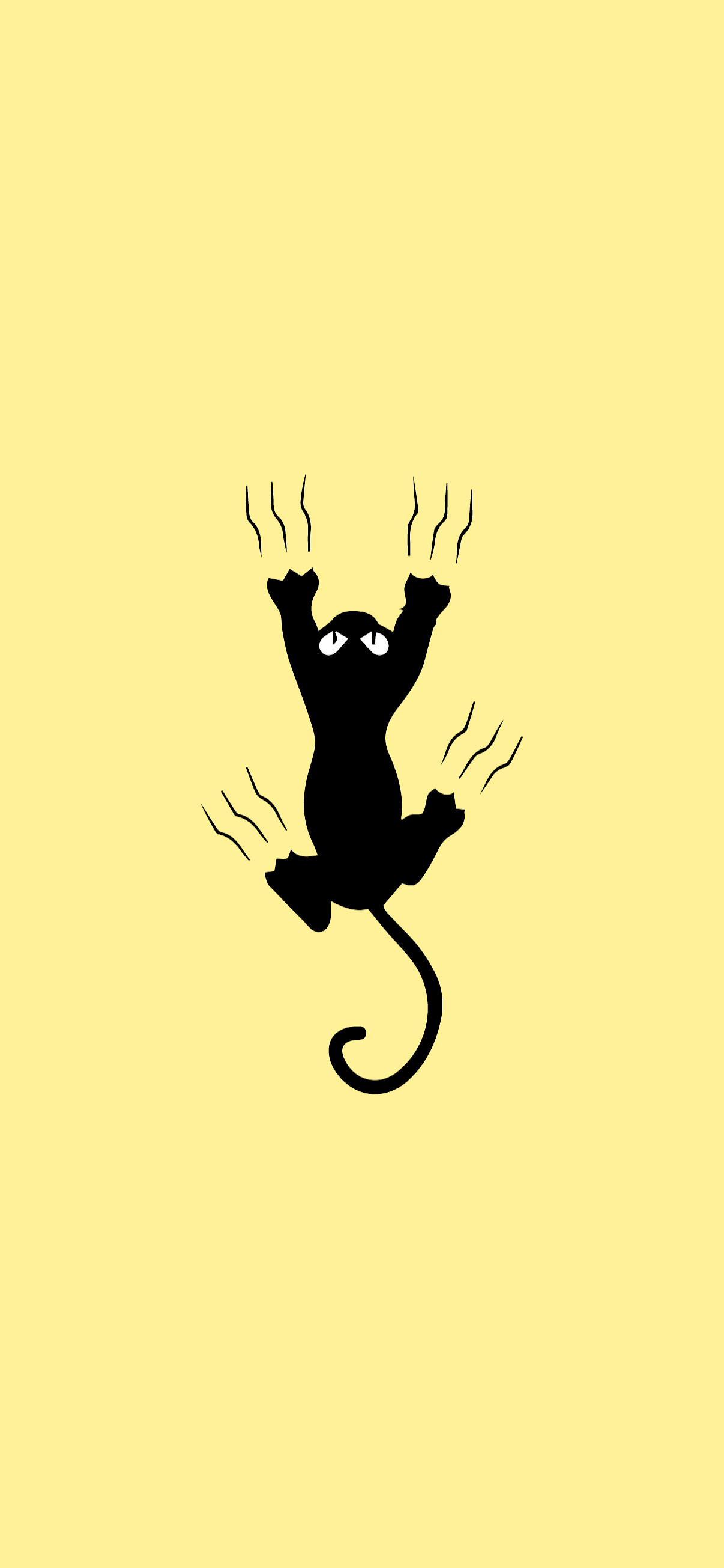 cat scratching minimalist wallpaper hd for phone yellow