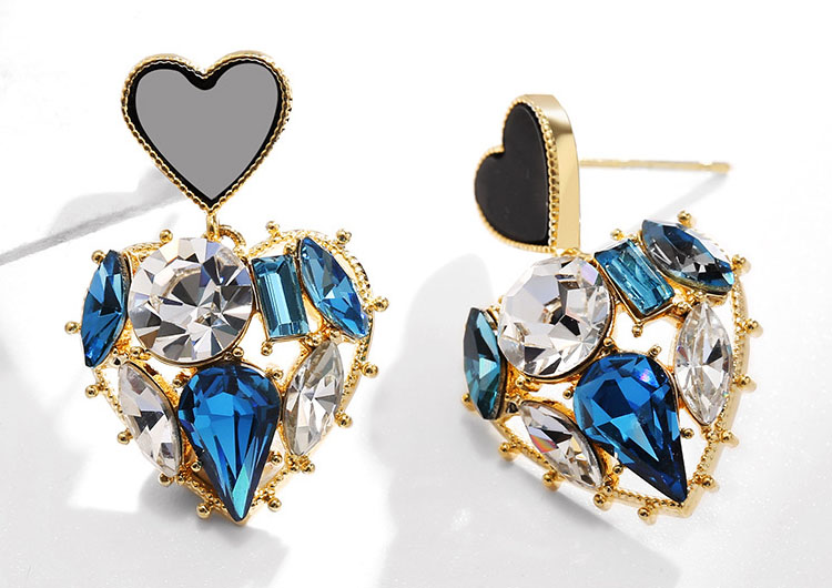 雙色藍或黑鏤空愛心鋯石水晶耳環