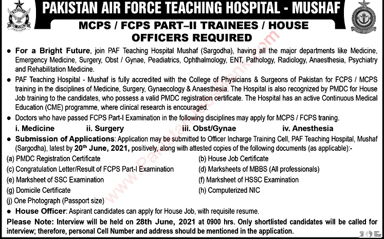 Latest Jobs in Pakistan Air Force Teaching Hospital  PAF June 2021