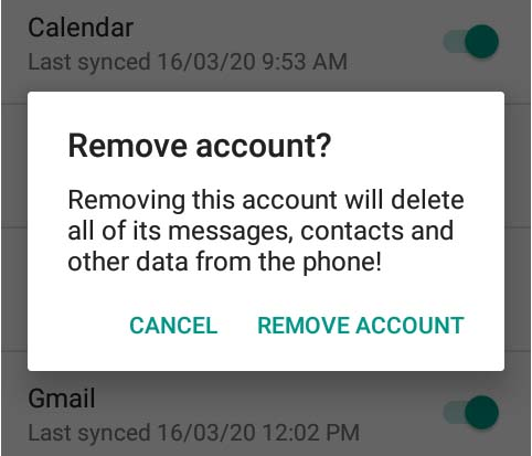 How to Remove Gmail account from mobile