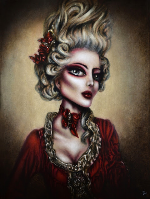 painting marie antoinette in a red dress and yellow backgound by tiago azevedo a lowbrow pop surrealism artist