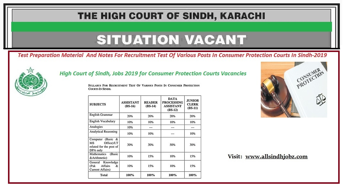 Test Preparation Material and Notes for Recruitment Test of Various Posts in Sindh High Court, Consumer Protection Courts in Sindh-2019