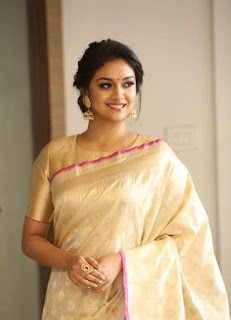 Keerthy Suresh in Saree with Cute Smile at Pandem Kodi 2 Trailer Launch