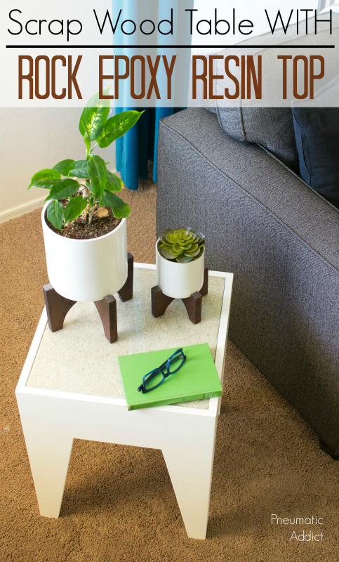 How to make a modern end table with a rock epoxy resin top from scrap wood