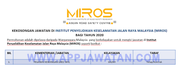 Jawatan Kosong Terkini di Institut Penyelidikan Keselamatan Jalan Raya Malaysia (MIROS).