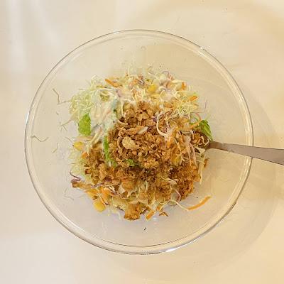 サラダ,クリスピーフライドオニオン,夜ご飯