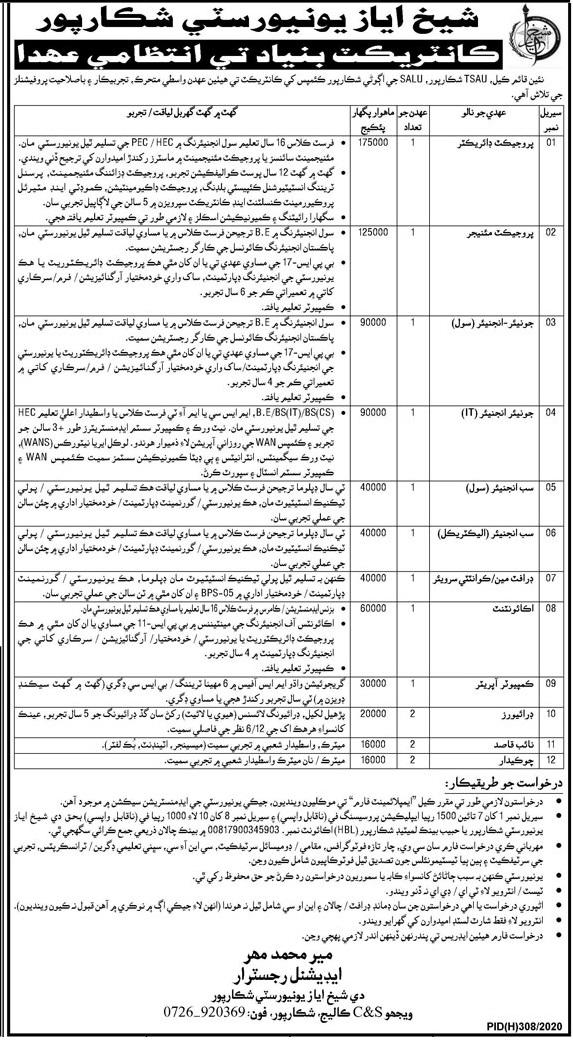 Sheikh Ayaz University Shikarpur Jobs 2020 Computer Operator