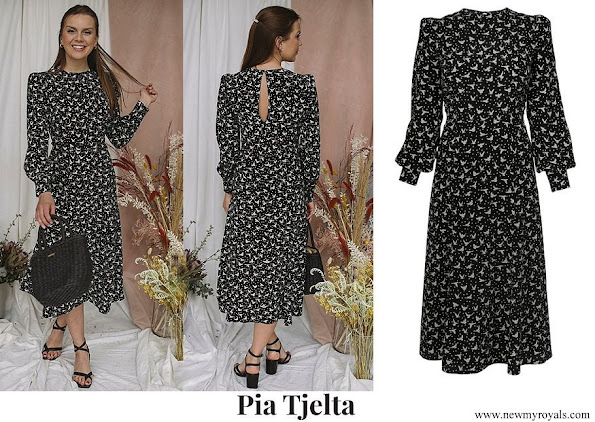 Crown Princess Mette-Marit wore PIA TJELTA Alicia dress birds-flying high black