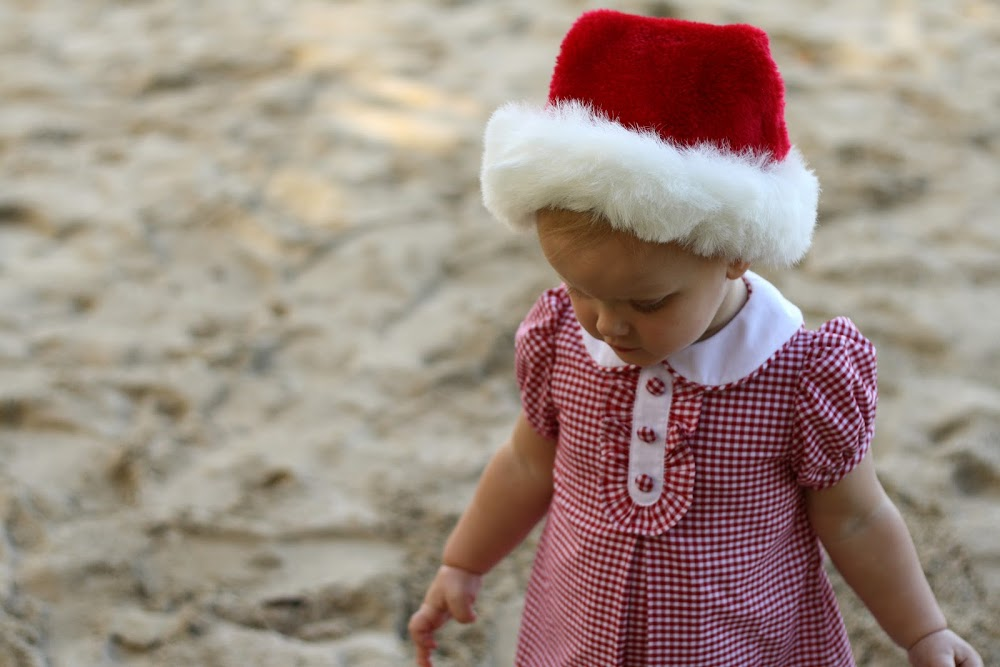 little girl in christmas hat and dress