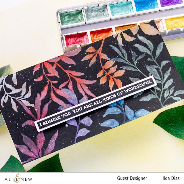 Metallic Leaf Clusters Stamp Set | Slimline Cards Altenew 6th Anniversary Blog Hop Day 3 + Giveaway