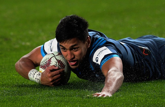 Rieko Ioane of the Blues scores a try against the touring British and Irish Lions