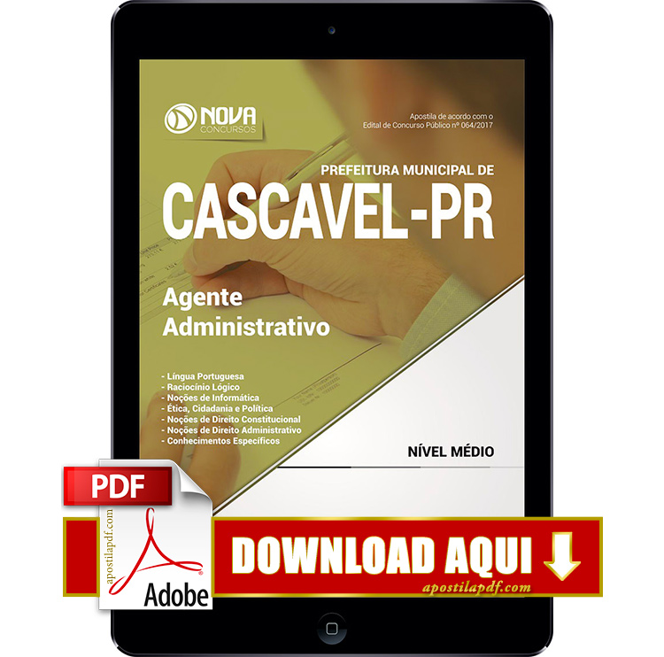 Apostila Prefeitura de Cascavel 2017 PDF Download Agente Administrativo