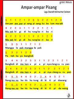 Not Angka Lagu Ampar-Ampar Pisang Kalimantan Selatan