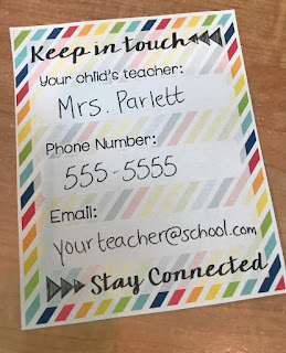 open house teacher contact card