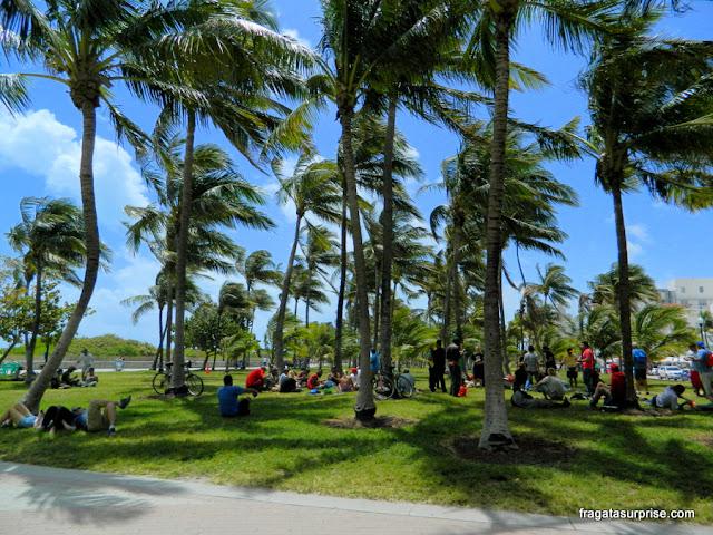 Jardim à beira-mar em Ocean Drive, Miami Beach