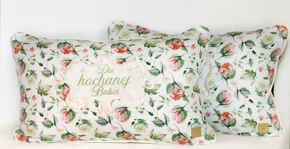 Zestaw poduszek dla Dziadków. Kolekcja Herbaciane róże, duże pąki.