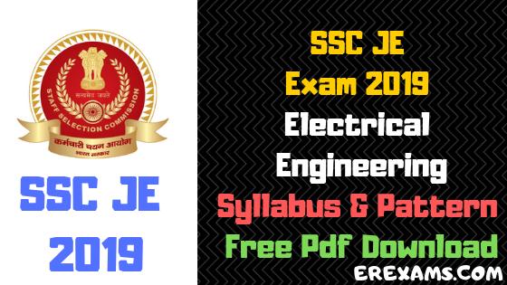 SSC JE Electrical Engineering Syllabus, Pattern 2019 Free Pdf Download