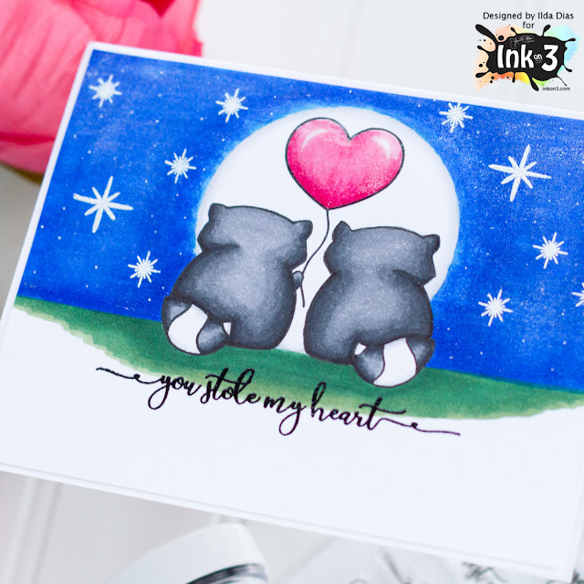 Raccoon Hugs Valentine's Day Card using Mirror Stamping for Ink On 3 by ilovedoingallthingscrafty.com