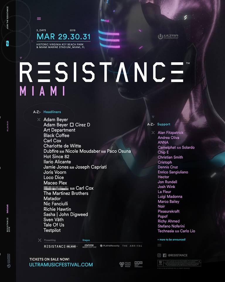 Ultra festival Miami 2019 announces massive Resistance Line up