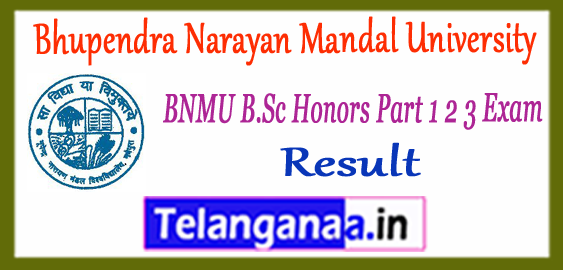 BNMU Bhupendra Narayan Mandal University B.Sc Science Part 1 2 3 Result 2017