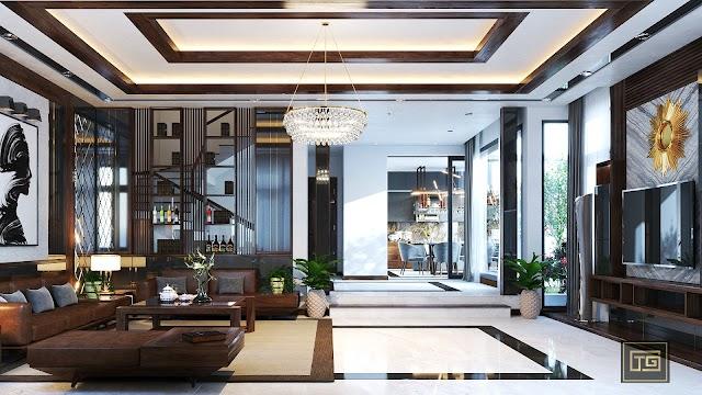 Nội thất phòng khách và bếp của căn biệt thự hiện đại kèm file 3d tham khảo