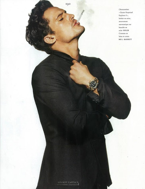 sam webb wearing a rolex in 2012 vogue hommes international editorial