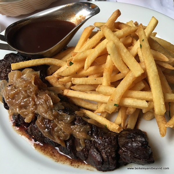 steak frites at Cafe de la Presse in San Francisco, California