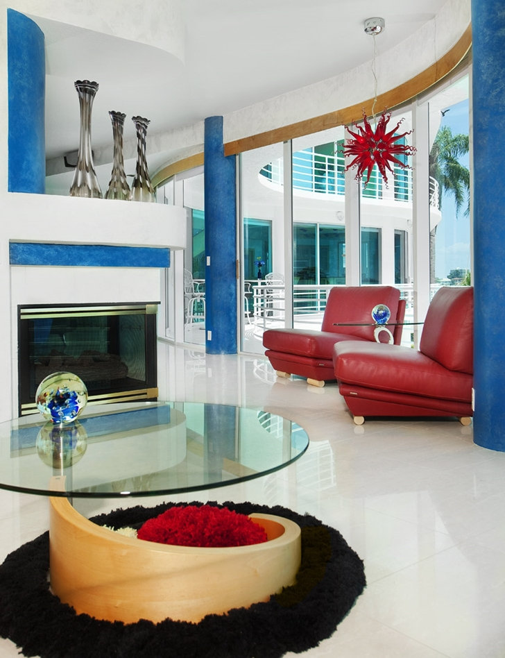 Glass coffee table in Modern villa in Tampa Bay
