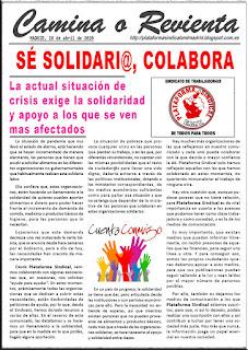 Comunicado solidario de 28 abril 2020