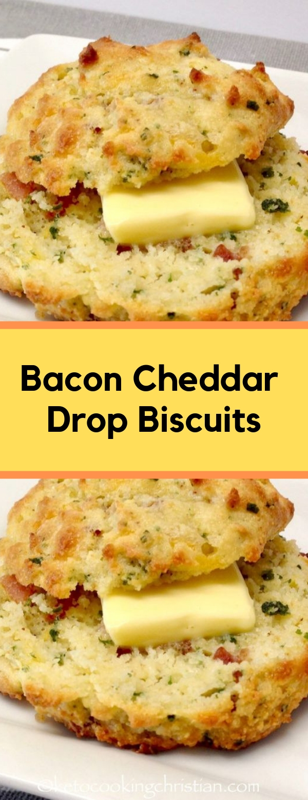 Bacon Cheddar Drop Biscuits #BREAKFAST #LOWCARB #GLUTENFREE #KETO