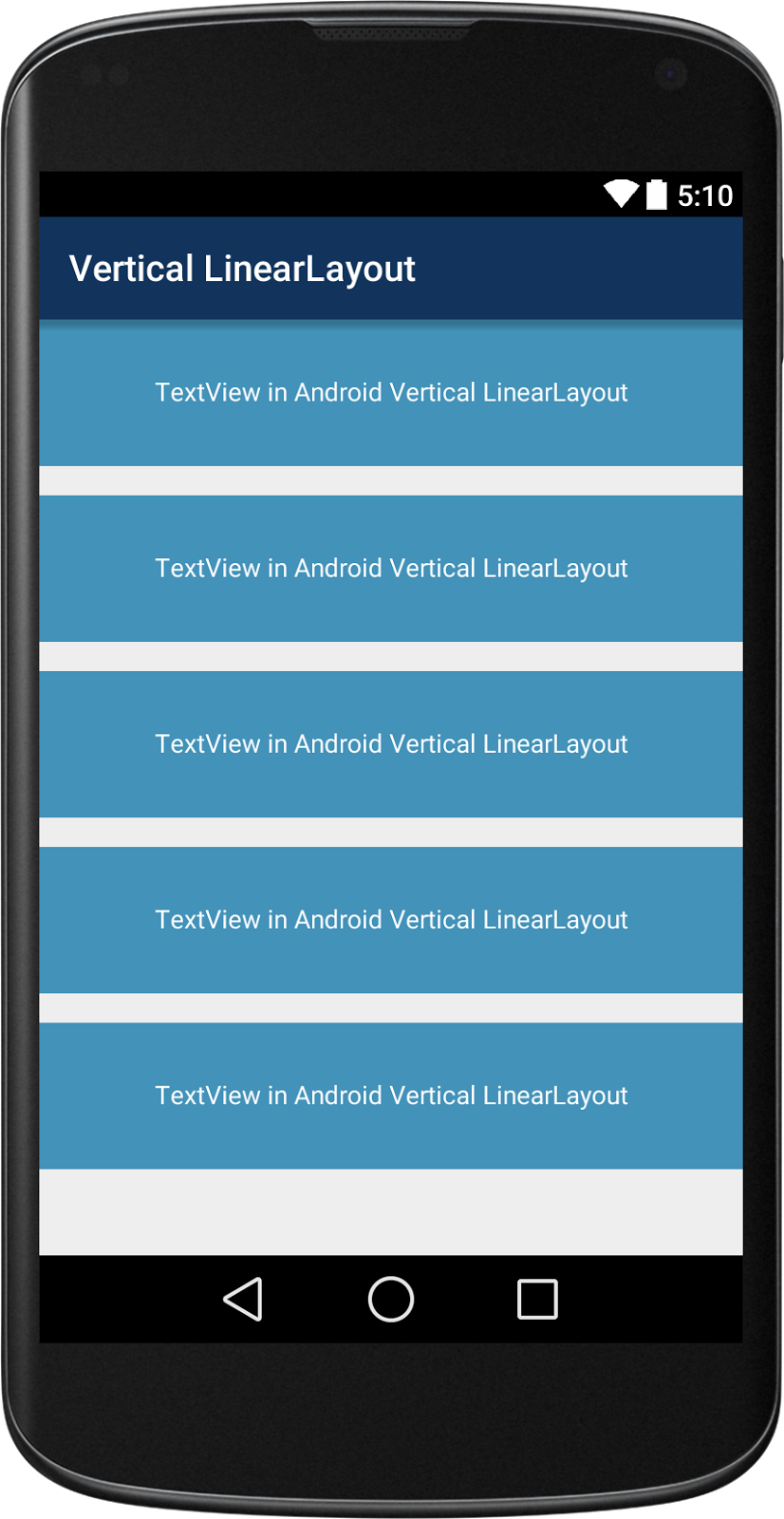 Android Vertical Linear Layout Example