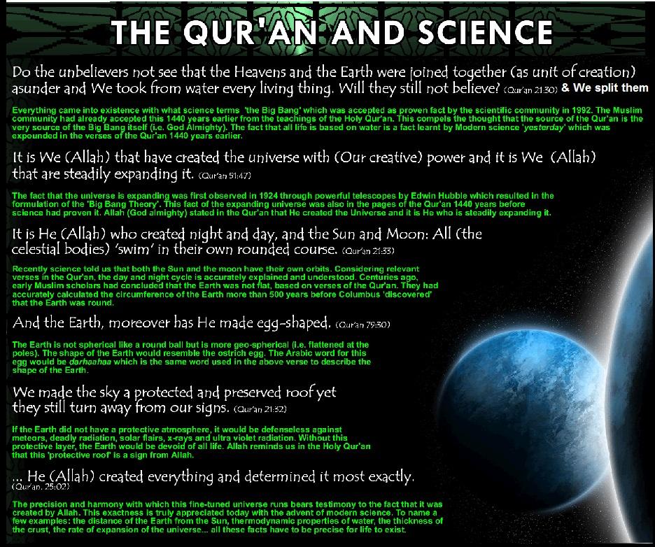 facts scientific science god qur universe chapter
