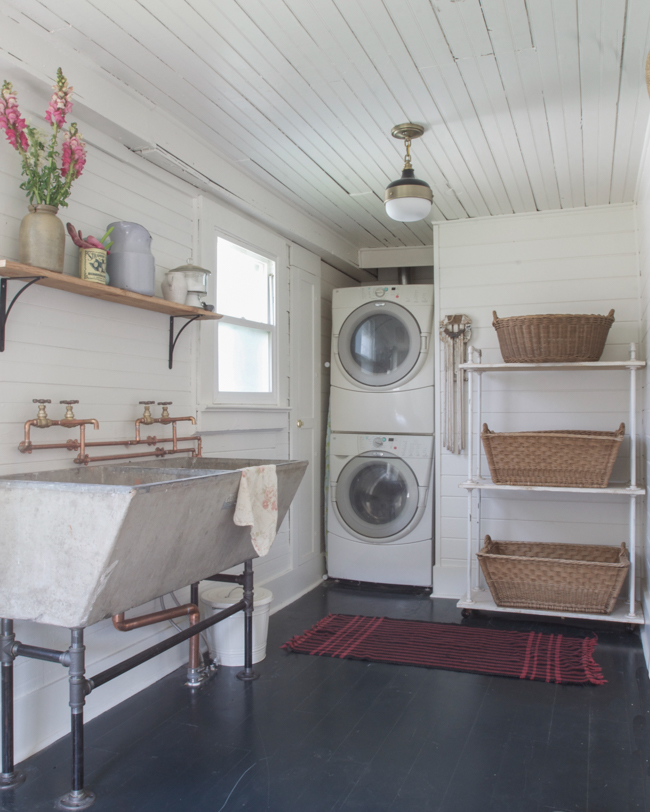 industrial rustic cottage laundry room, Vintage Whites