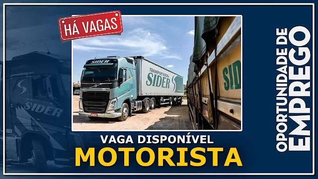 Transportadora Sider abre vagas para Motorista Carreteiro