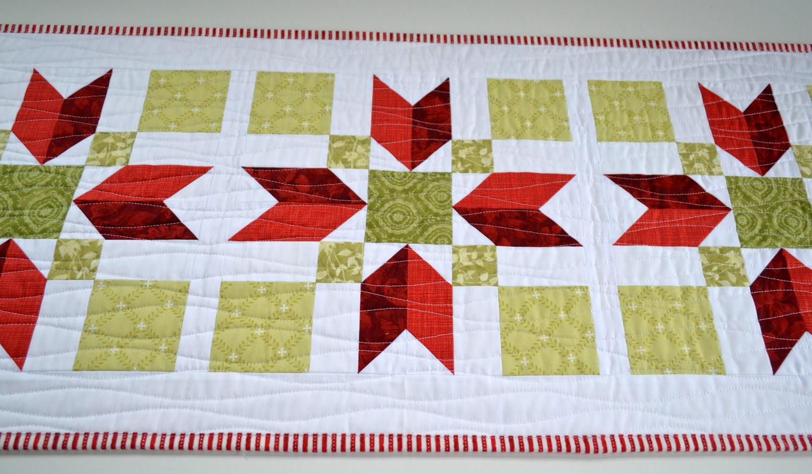 Sew Fresh Quilts Christmas Poinsettia Quilted Table Runner