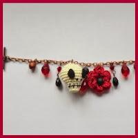 Pulsera día de los muertos a crochet