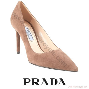 Sophie Countess of Wessex wore Prada Brown Suede Point Toe Pumps
