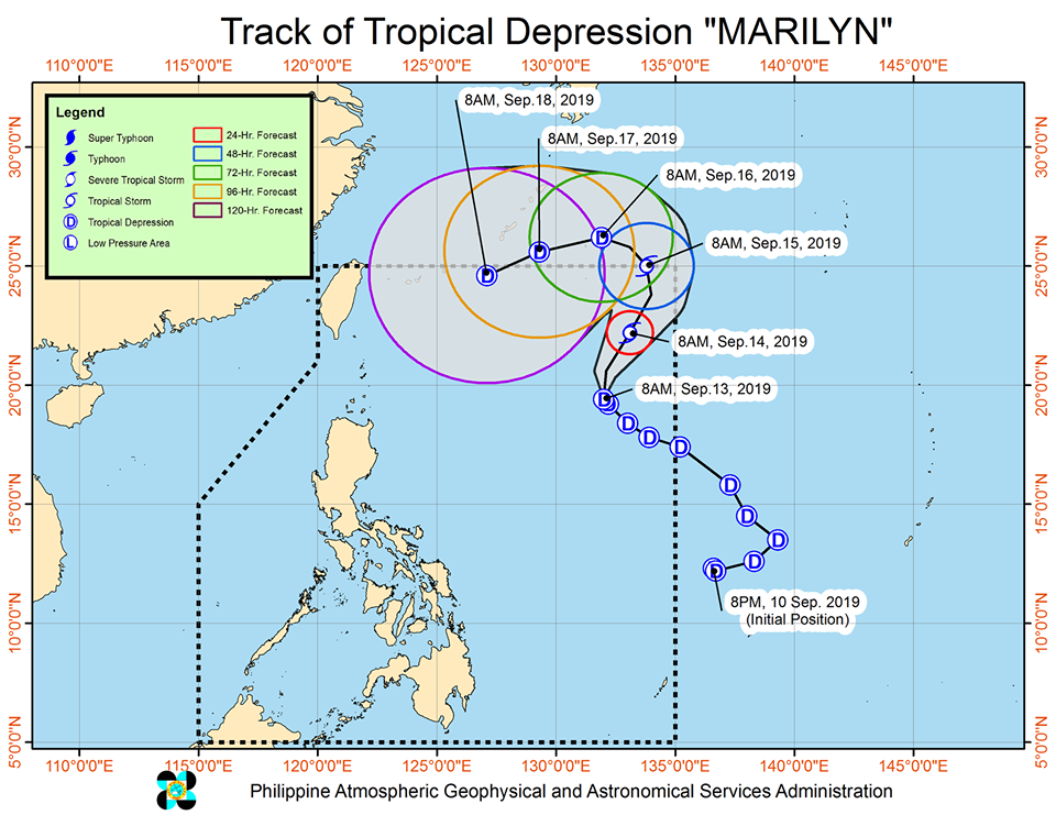 Track of Tropical Depression 'Marilyn' | Image courtesy of DOST-PAGASA