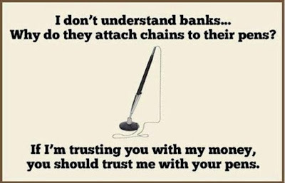 Funny bank pen chain quote picture