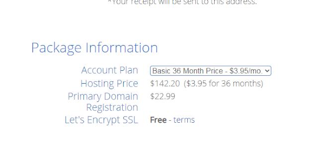 Purchasing Basic Plan on BlueHost