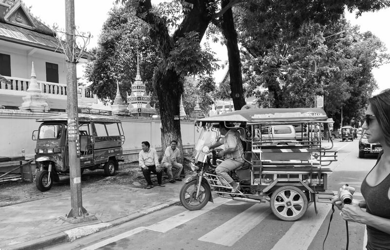 street photography laos tuk tuks
