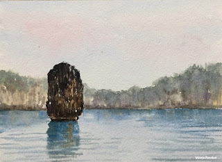 Limestone rocks at Cam Pha port, a water color painting