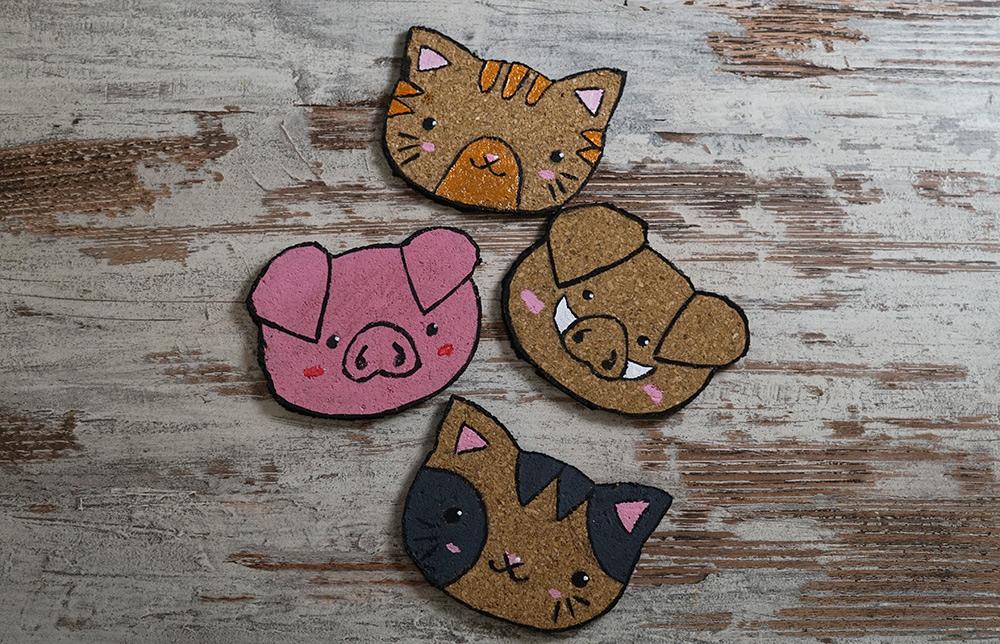 KuneCoco • DIY • Korkuntersetzer • Katzen und Schweine